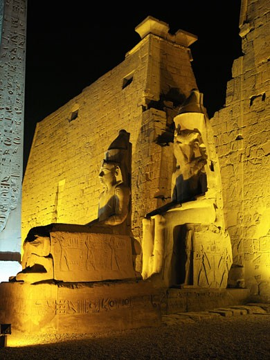 Stock Photo: 1885-12431 Egypt, , Luxor, Karnak - floodlit statue of Ramses II at Temple of Amun