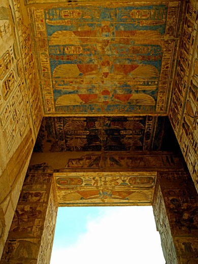 Egypt, , Luxor, Painted ceiling at Medinet Habu - Mortuary Temple of Ramses III : Stock Photo