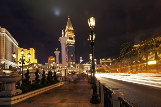 USA, Nevada, Las Vegas, The Venetian Hotel and Casino at night : Stock Photo