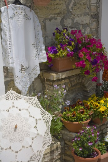 Cyprus, South, Lefkara, Displays of lace : Stock Photo