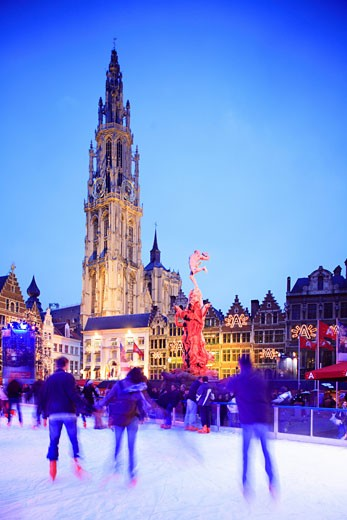 Belgium, Flanders, Antwerp, Grote Markt - cathedral and ice rink : Stock Photo