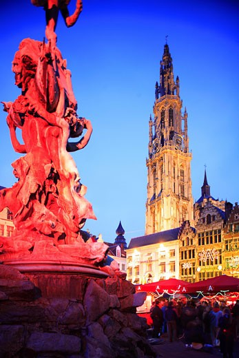 Belgium, Flanders, Antwerp, Grote Markt - cathedral and statue : Stock Photo