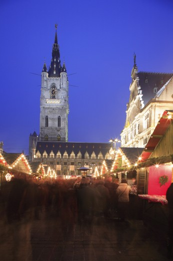 Stock Photo: 1885-14588 Belgium, Flanders, Ghent, Emile Braun Plein - The Belfry and Christmas Market