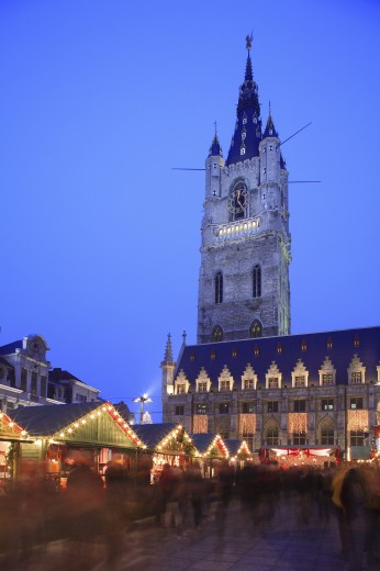 Stock Photo: 1885-14589 Belgium, Flanders, Ghent, Emile Braun Plein - The Belfry and Christmas Market