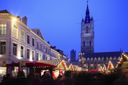 Belgium, Flanders, Ghent, Emile Braun Plein - The Belfry and Christmas Market : Stock Photo