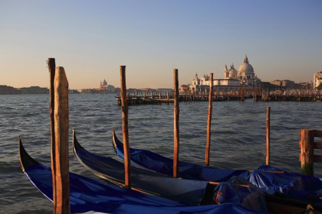 Italy, Veneto, Venice, Gondolas and the church of Santa Maria della Salute  : Stock Photo