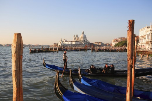 Italy, Veneto, Venice, Gondolas and the church of Santa Maria della Salute  : Stock Photo