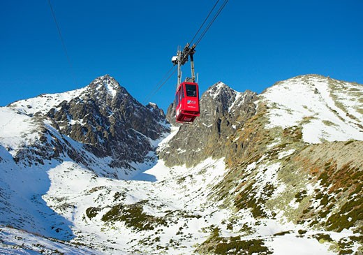 Slovakia, , Tatra Mountains, Lomnica peak and cable car : Stock Photo