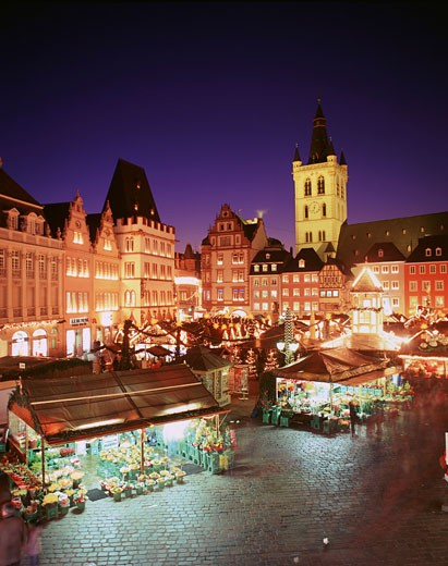Germany, Rhineland-Palatinate, Trier, Christmas market at night : Stock Photo
