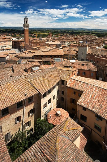 Stock Photo: 1885-15226 Italy, Tuscany, Siena, View of the Piazza del Campo with the Torre del Mangia
