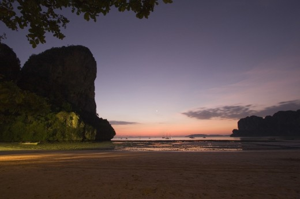 Thailand, , Krabi, West Railae beach at dusk : Stock Photo