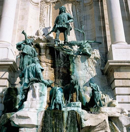 Hungary, , Budapest, Matthias Fountain at Buda Palace - close up : Stock Photo