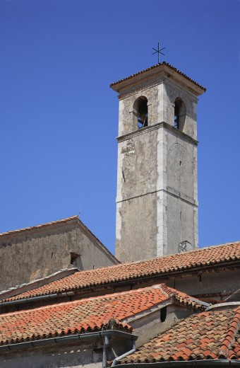 Croatia, Istria, Rovinj, Bell tower and roofs : Stock Photo