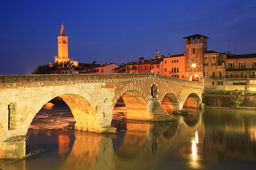 Italy, Veneto, Verona, Bridge over River Adige at night : Stock Photo