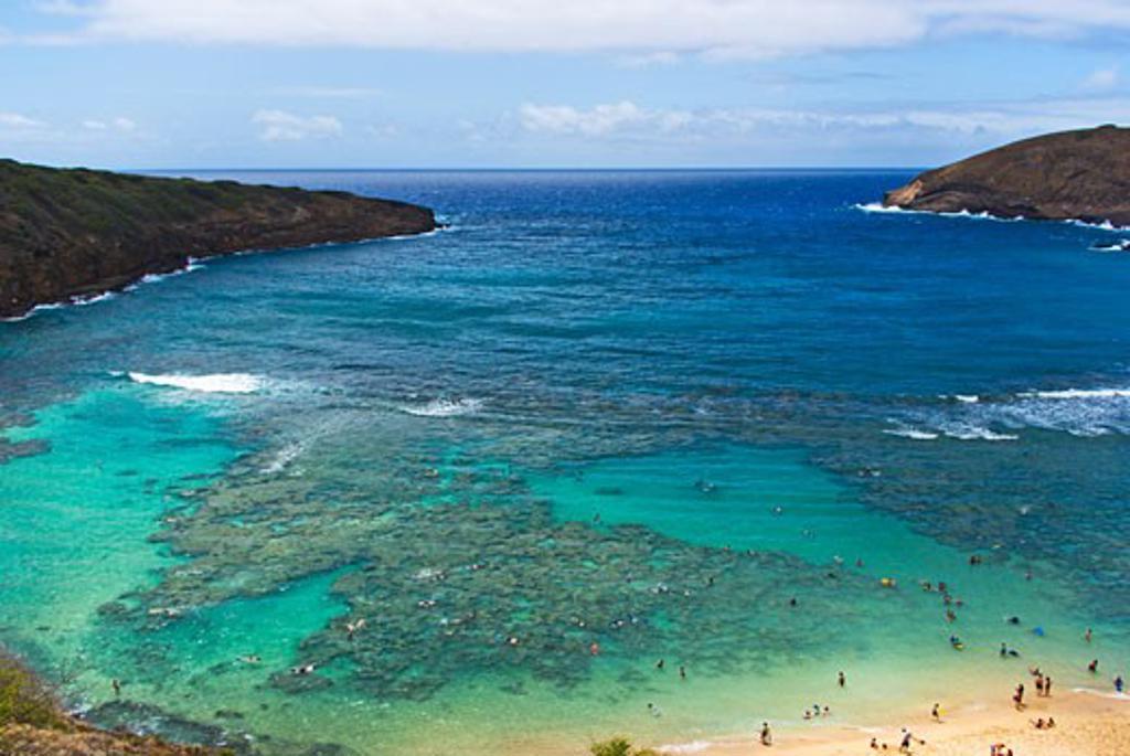 USA, Hawaii, Oahu Island, View over Hanuama Bay : Stock Photo