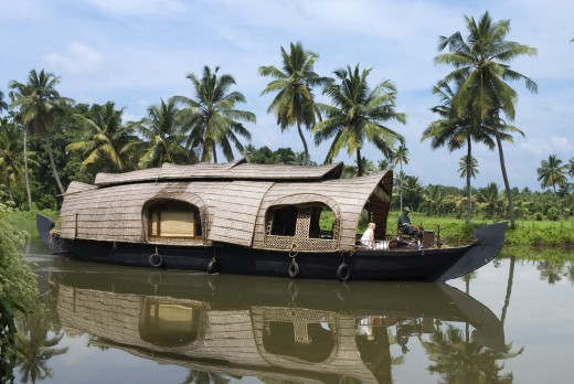 India, Kerala, Alappuzha - near, Houseboat on the Backwaters : Stock Photo