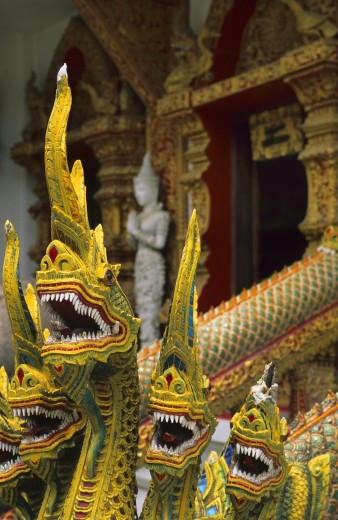 Thailand, , Chiang Mai, Temple detail - dragon statues : Stock Photo