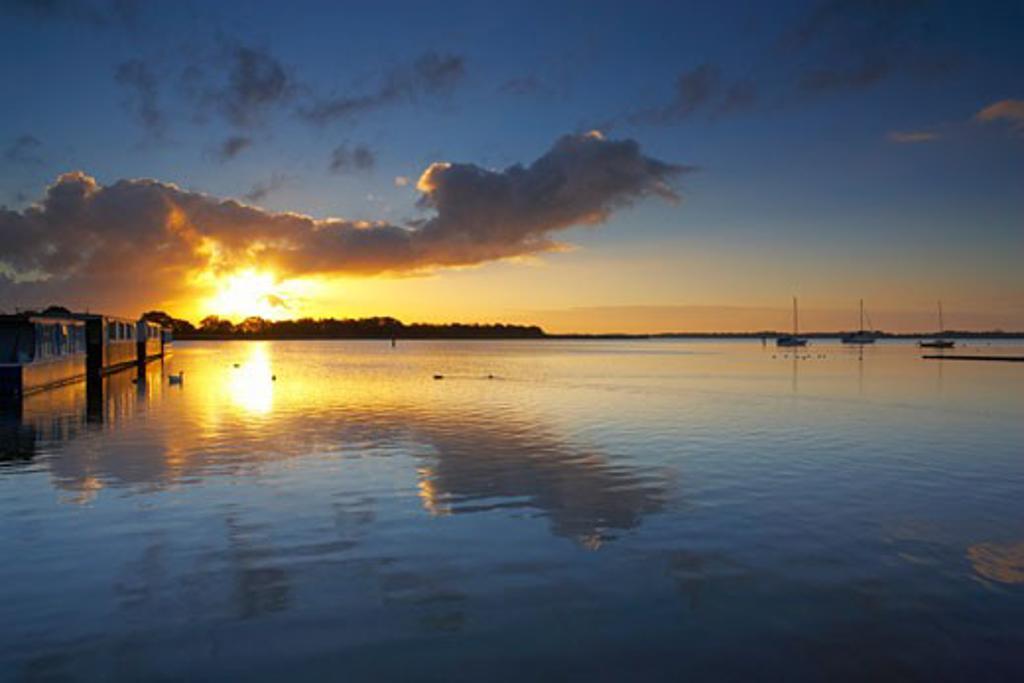 UK - England, Norfolk, Norfolk Broads, Hickling Broad at sunrise : Stock Photo