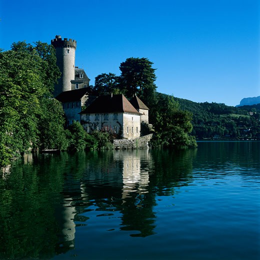 France, Rhone Alpes, Duingt, Chateau beside Lake Annecy : Stock Photo
