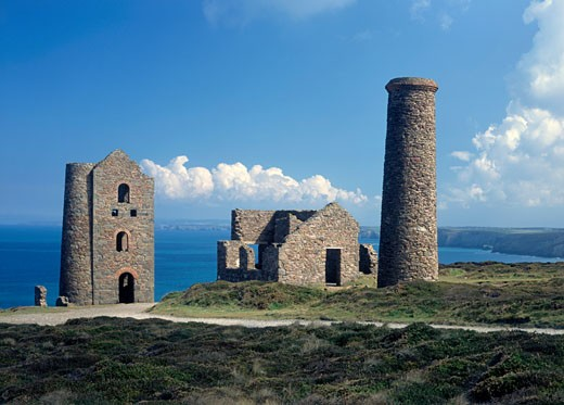 Stock Photo: 1885-19033 UK - England, Cornwall, St Agnes, Wheal Coates tin mine - engine house ruins