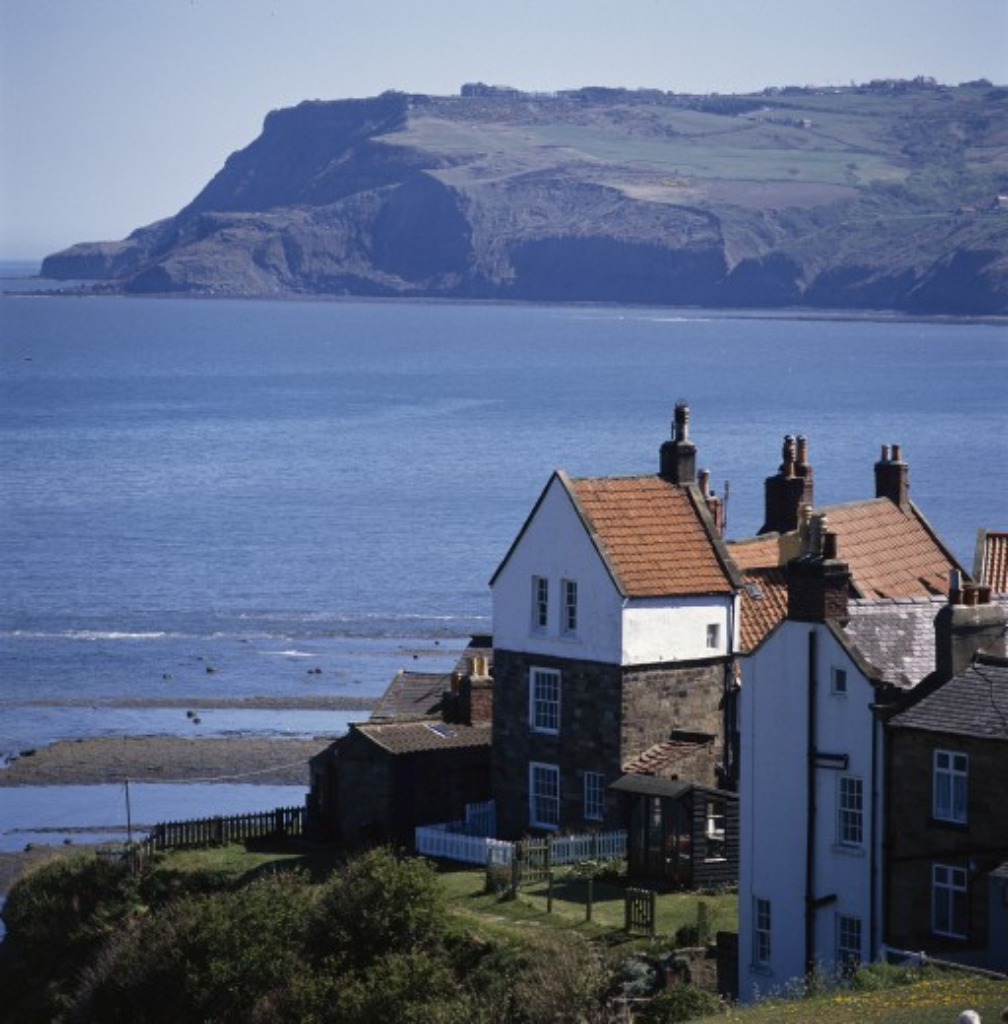 UK - England, Yorkshire, Robin Hood's Bay, View across bay : Stock Photo