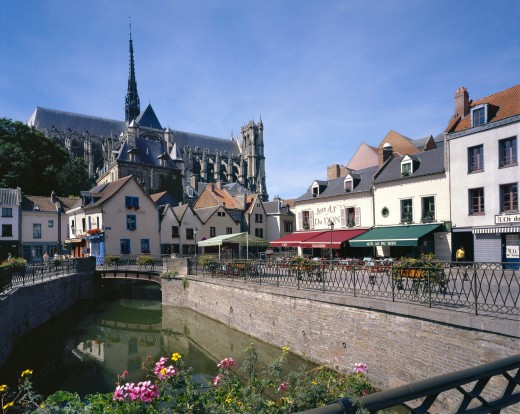 France, Picardy, Amiens, Cathedral and Restaurants : Stock Photo