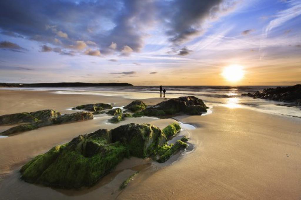 Stock Photo: 1885-20481 UK - England, Devon, Woolacombe, Woolacombe Sands at sunset