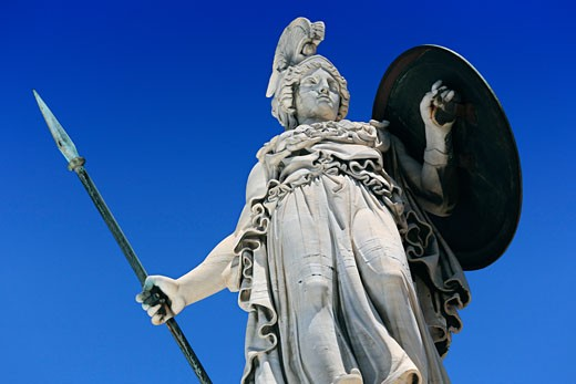 Greece, Attica, Athens, Statue of Athena outside Archaeological Museum : Stock Photo