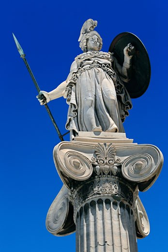 Stock Photo: 1885-20500 Greece, Attica, Athens, Statue of Athena outside Archaeological Museum