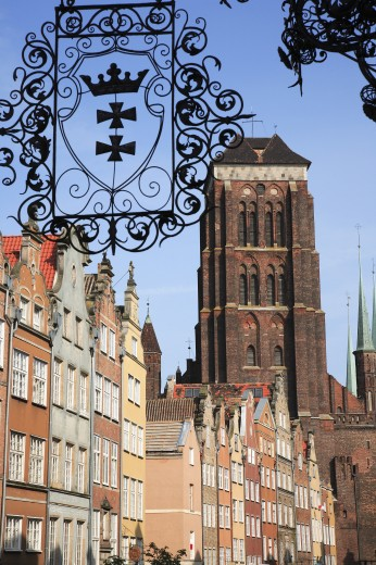Poland, , Gdansk, Church of St Mary with signs and local architecture : Stock Photo