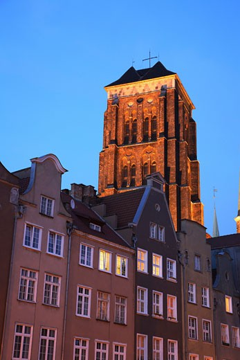 Poland, , Gdansk, Church of St Mary and local architecture at night : Stock Photo