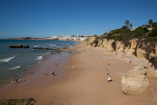 Portugal, Algarve, Albufeira, View over beach : Stock Photo