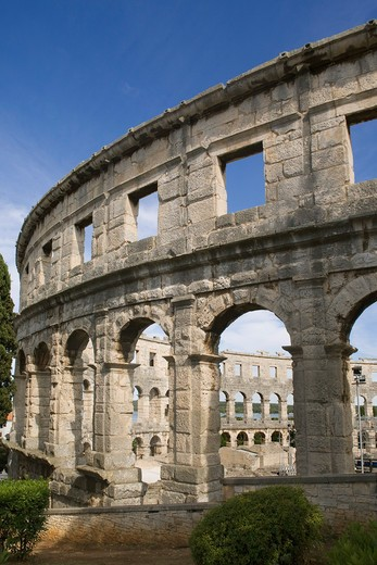Croatia, Istria, Pula, Roman Amphitheatre : Stock Photo