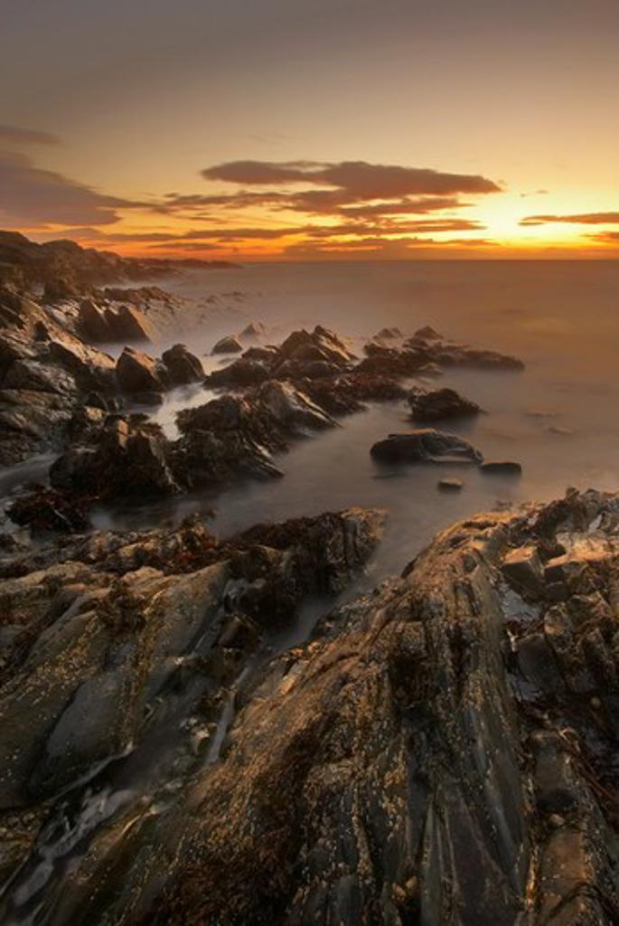 UK - England, Isle Of Man, Niarbyl Bay, Coastal scenery at sunset : Stock Photo