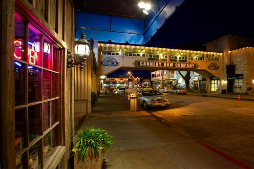 USA, California, Monterey, Cannery Row at night : Stock Photo