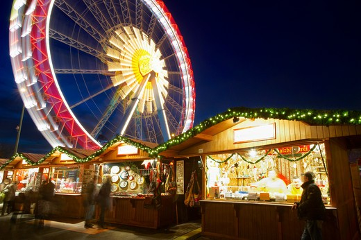 Germany, Brandenburg, Berlin, Christmas Market  - funfair and market stalls : Stock Photo