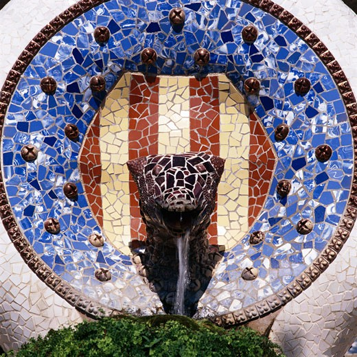 Spain, Catalunya, Barcelona, Parc Guell - Ceramic Fountain (detail) : Stock Photo