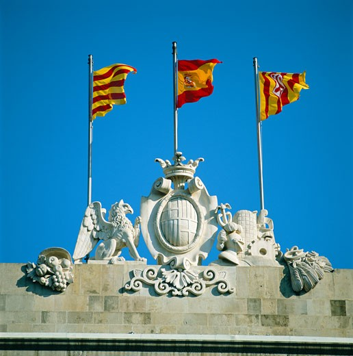 Spain, Catalunya, Barcelona, Spanish & Catalan Flags : Stock Photo