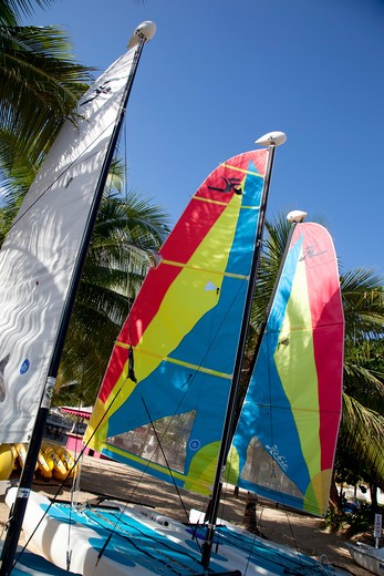 Stock Photo: 1885-21276 Caribbean, Jamaica, Ocho Rios, Colourful boats on beach