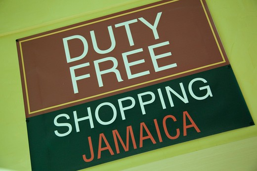 Caribbean, Jamaica, Ocho Rios, Duty Free Shopping sign : Stock Photo