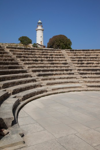 Cyprus, South Cyprus, Paphos, Odeon & Lighthouse : Stock Photo