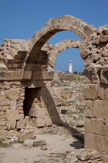 Stock Photo: 1885-21524 Cyprus, South Cyprus, Paphos, Saranda Kolones Arches & Lighthouse