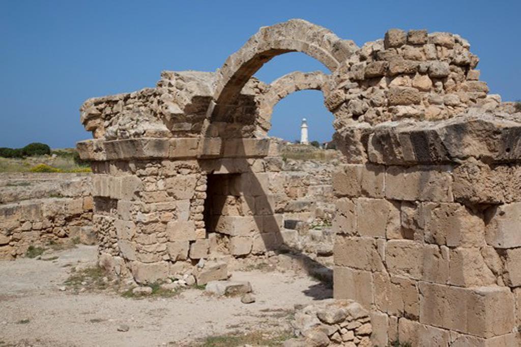 Cyprus, South Cyprus, Paphos, Saranda Kolones Arches & Lighthouse : Stock Photo