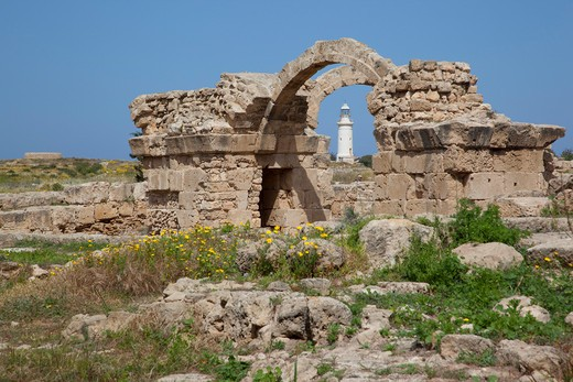 Cyprus, South Cyprus, Paphos, Saranda Kolones Arches & Lighthouse : Stock Photo