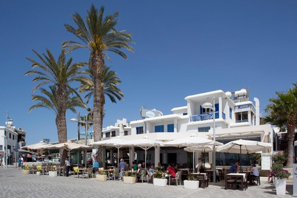 Cyprus, Kato Paphos, Paphos, Promenade Restaurant : Stock Photo