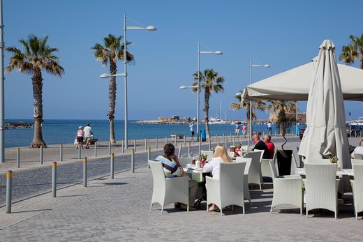 Cyprus, Kato Paphos, Paphos, Promenade Cafe : Stock Photo
