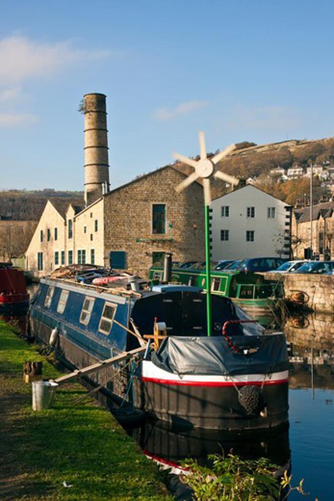 UK - England, Yorkshire, Hebden Bridge, The Rochdale Canal, Hebden Bridge, Halifax, Yorkshire : Stock Photo