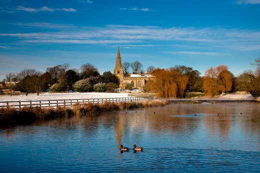 UK - England, North Yorkshire, Brompton by Sawdon, The Village Pond in Winter, Brompton by Sawdon near Scarborough, North Yorkshire : Stock Photo