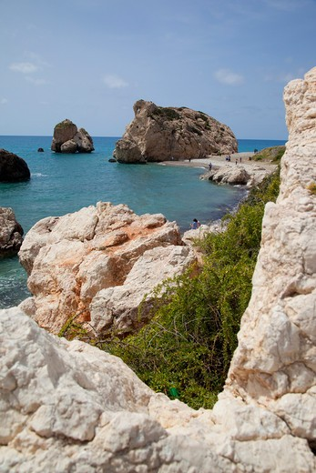 Cyprus, Paphos, Paphos, Cyprus, Aphrodites Rock, Coastal View; : Stock Photo