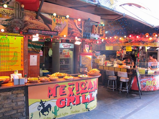 Stock Photo: 1885-22266 UK - England, London, Camden Lock, Food Court at The Market Stables in Camden Lock